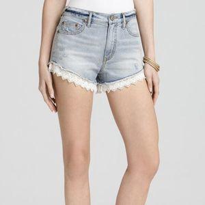 Free People Denim Fringe Lace Shorts 27